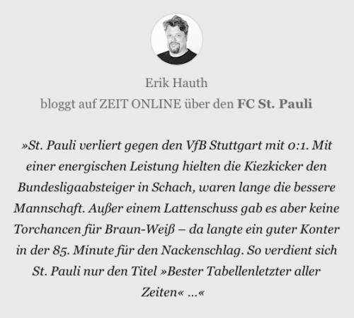 Kurzkommentar zum Heimspiel FCSP vs VfB Stuttgart.