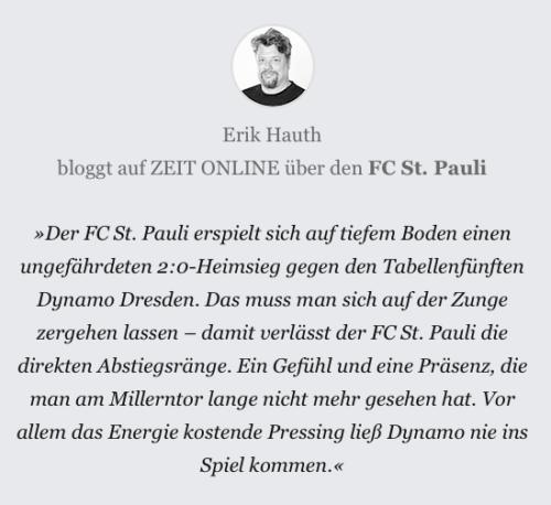 Kurzkommentar FC St. Pauli - Dynamo Dresden
