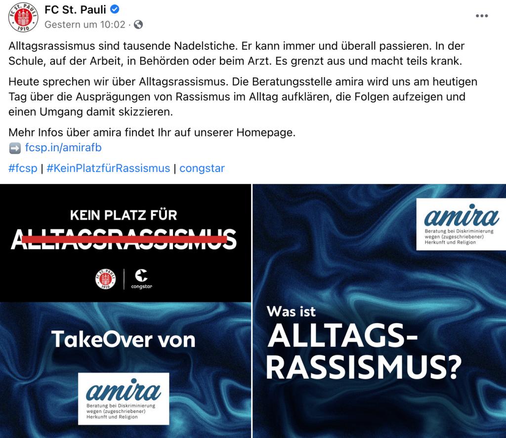 FC St. Pauli Facebook Aktion gegen Alltagsrassismus (Screenshot: Facebook)