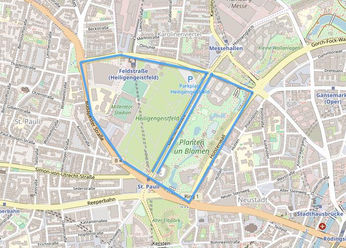 Alternativroute 1: St. Pauli Mitte/Nord  Glacischaussee - Feldstraße - Neuer Kamp - Budapester - Millerntorplatz - Holstenwall - Sievekingplatz - Glacischaussee