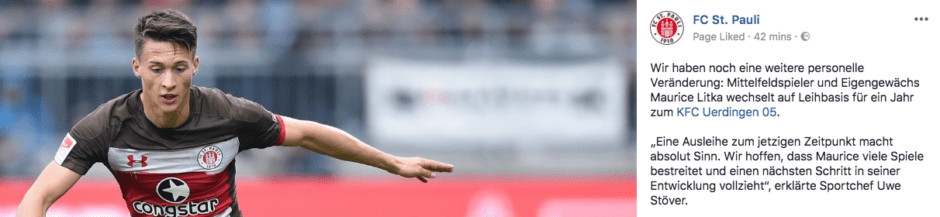 Meldung via Facebook: Maurice Litka verlässt den FC St. Pauli