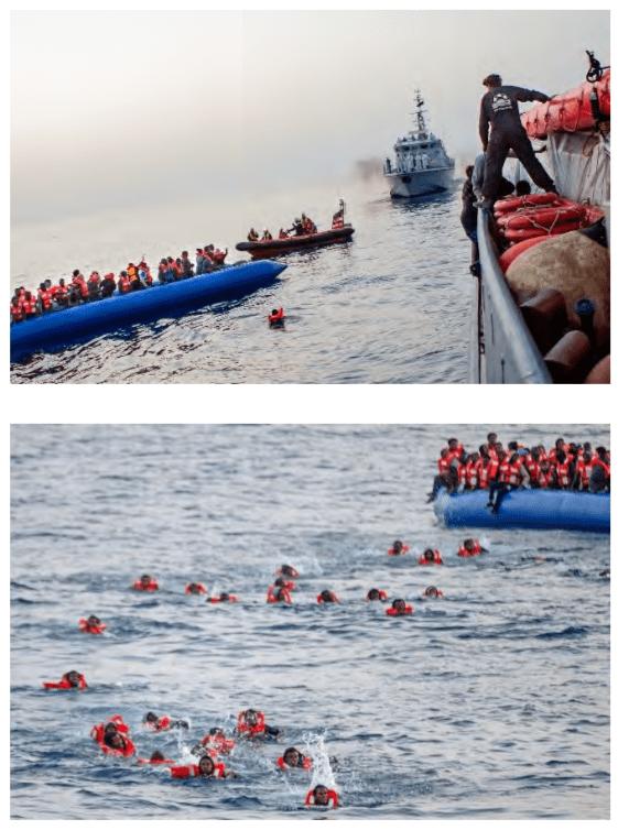 Rettung von Ertrinkenden im Mittelmeer durch Sea Watch