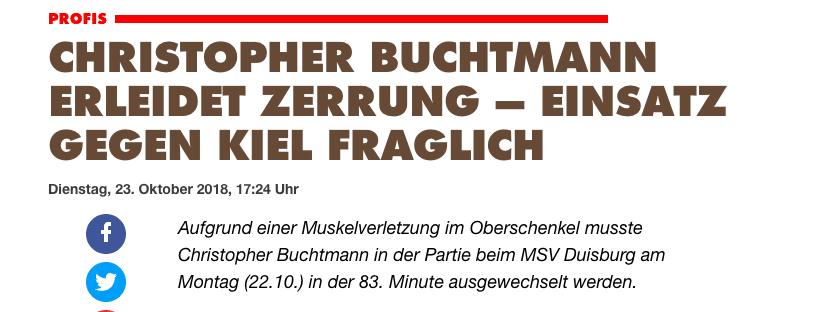 Meldung des FC St. Pauli: Buchtmann fällt gegen Holstein Kiel ggf. aus